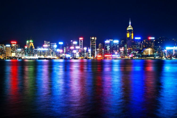 new york city colors colorful sea landscape Skyscrapers lights beauty luxury wallpaper