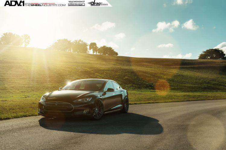 2015 adv1 wheels tuning cars TESLA MODEL S electric wallpaper