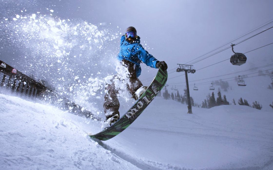 Extreme snow snowboarding sports Winter landscapes man mountains sky cloudy Surfboard wallpaper