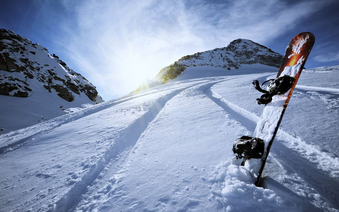 Extreme snow snowboarding sports Winter landscapes man mountains sky clouds Surfboard wallpaper