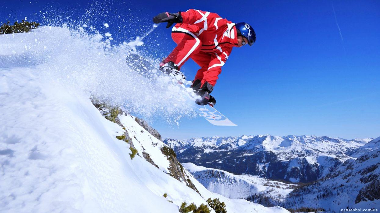 Extreme snow snowboarding sports Winter landscapes man mountains sky Surfboard joy fun wallpaper