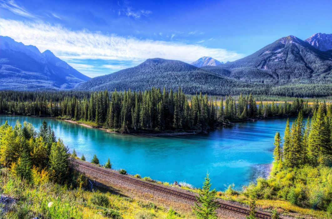 landscapes lakes mountains stones trees forest green snow sky clouds blue nature beauty relax quiet Railroad wallpaper