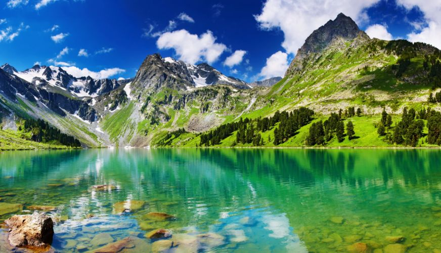 landscapes lakes mountains stones trees forest green snow sky clouds blue nature beauty relax quiet wallpaper