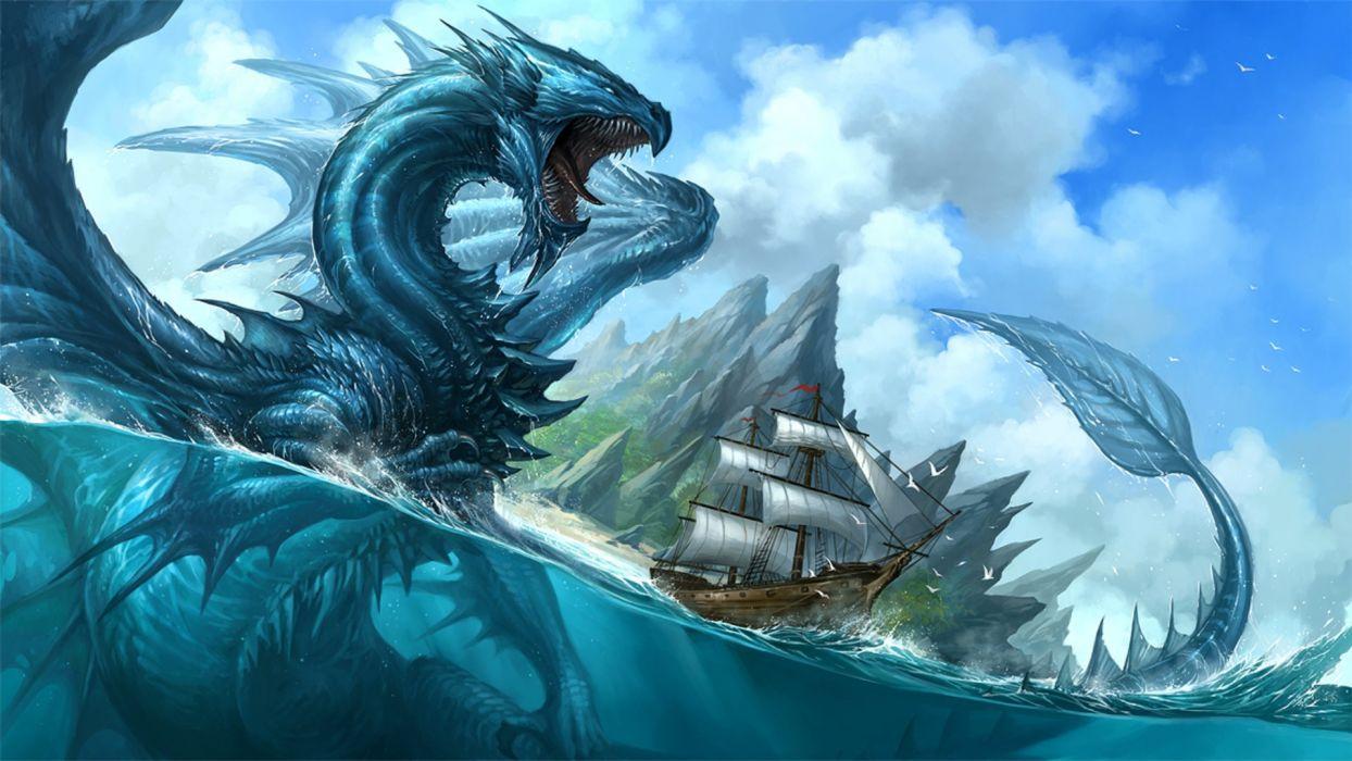 dragon fantasia velero mar wallpaper