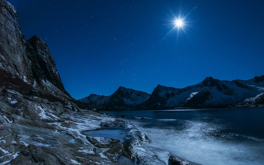 lakes landscapes sky stars winter ice snow mountains moon nature wallpaper