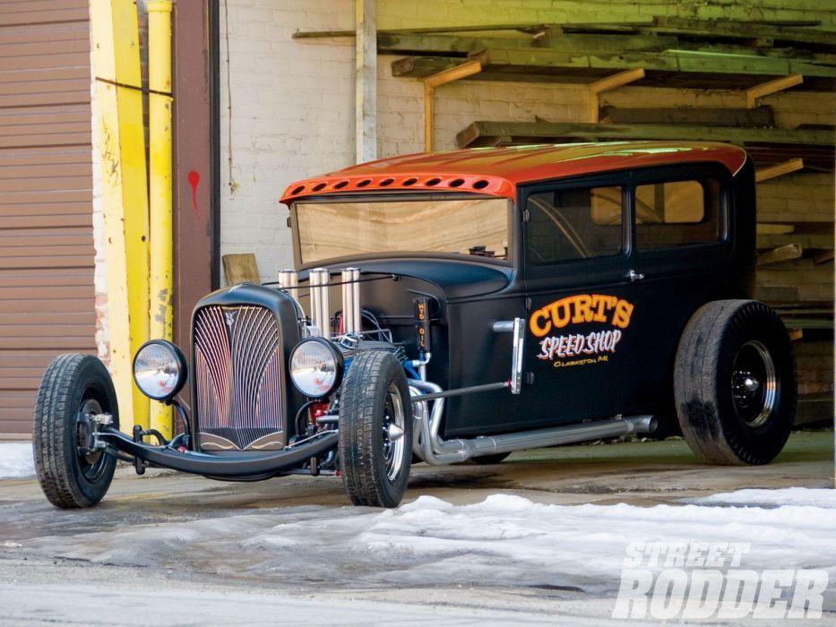 1930 Ford ModelA Tudor Sedan Hotrod Hot Rod Streetrod Street USA 1600x1200-02 wallpaper