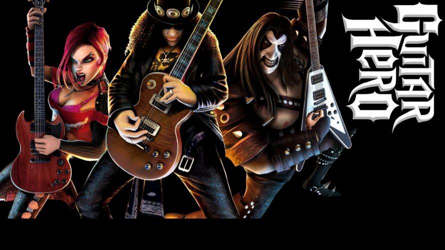 GUITAR HERO music guitars heavy metal rock hard 1ghero rhythm guitarhero poster slash guns roses wallpaper