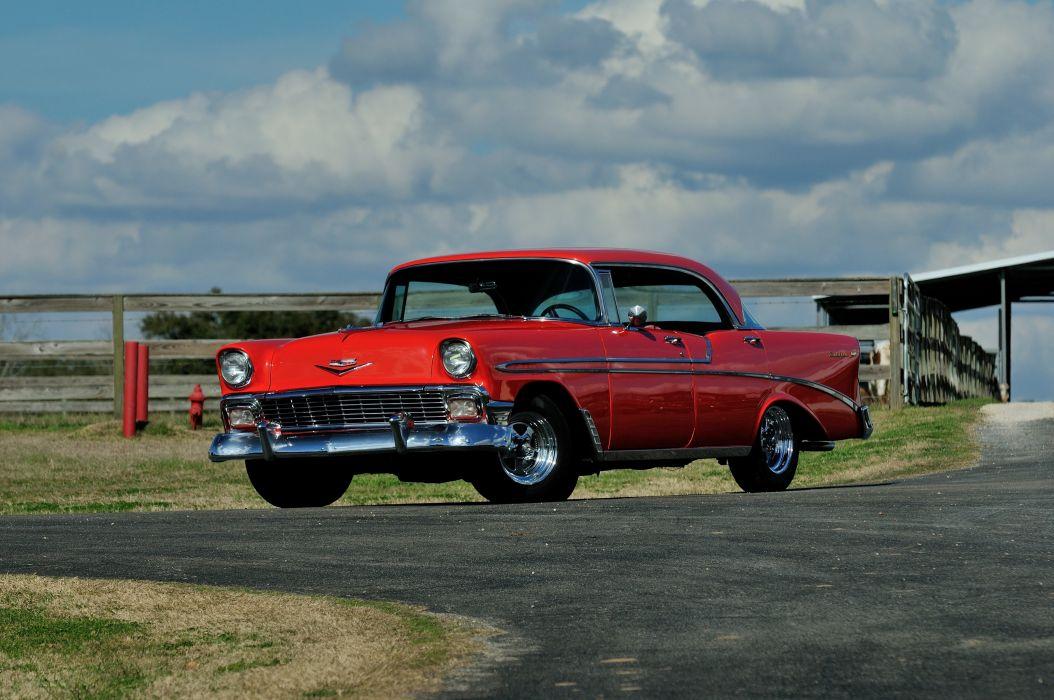 1956 Chevrolet Bel Air 4 Door Hardtop Sedan Classic Old Retro USA 4096x2720-01 wallpaper