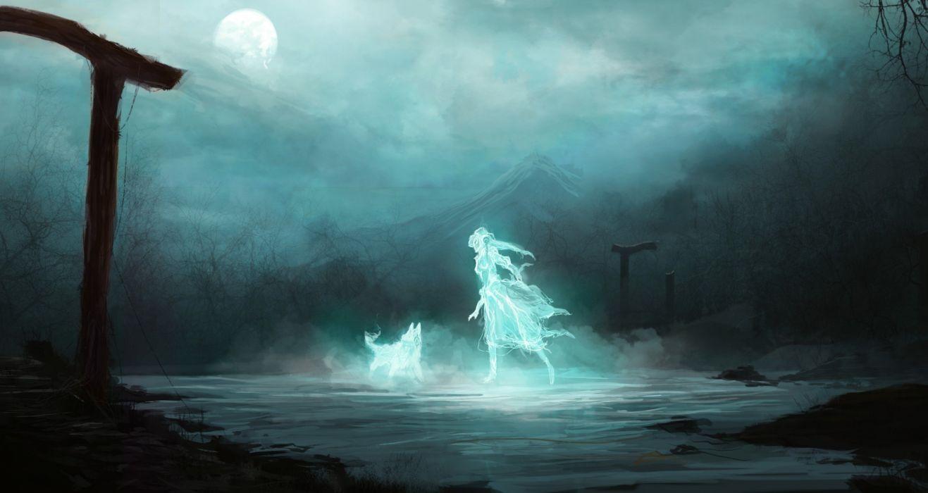 fantasmas chica lobo arte fantasia wallpaper