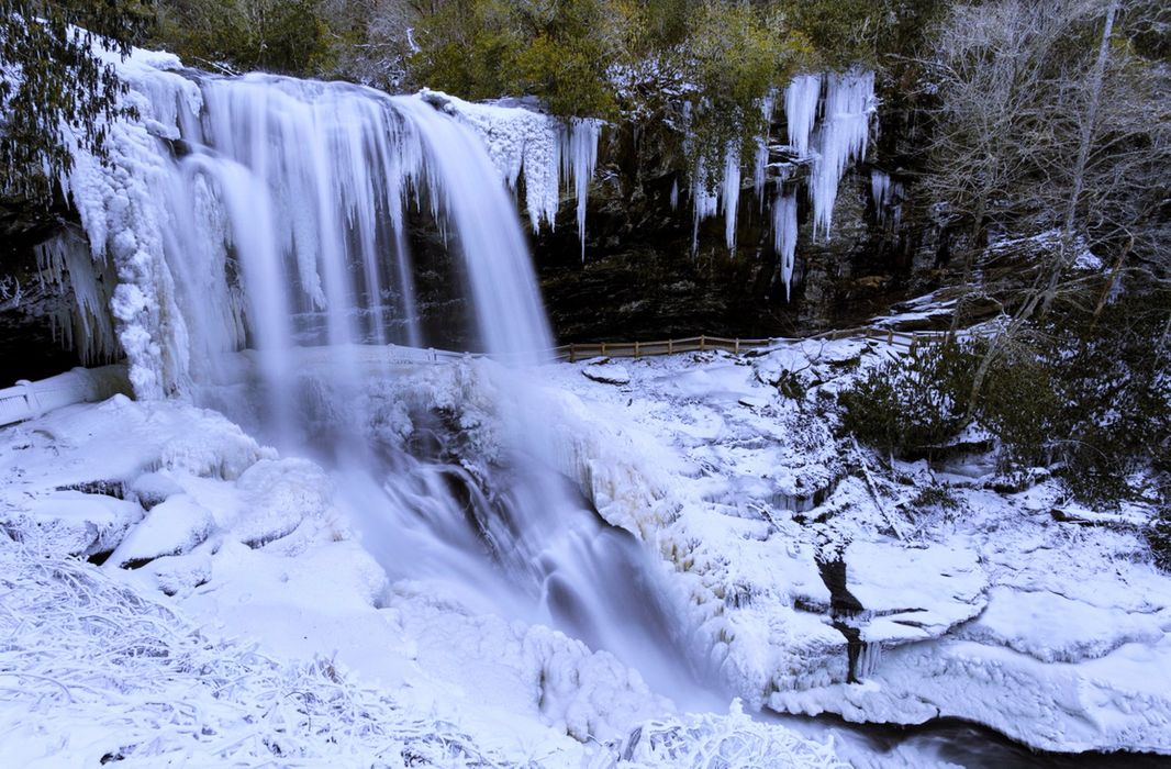 waterfall ice snow landscapes nature winter jungle forest Source white trees wallpaper