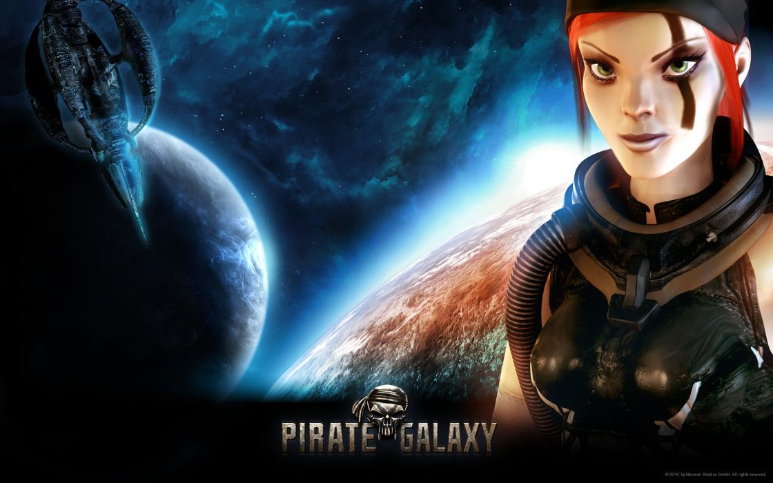 PIRATE GALAXY space adventure mmo online sci-fi 1pgalaxy action fighting spaceship pirates strategy poster wallpaper
