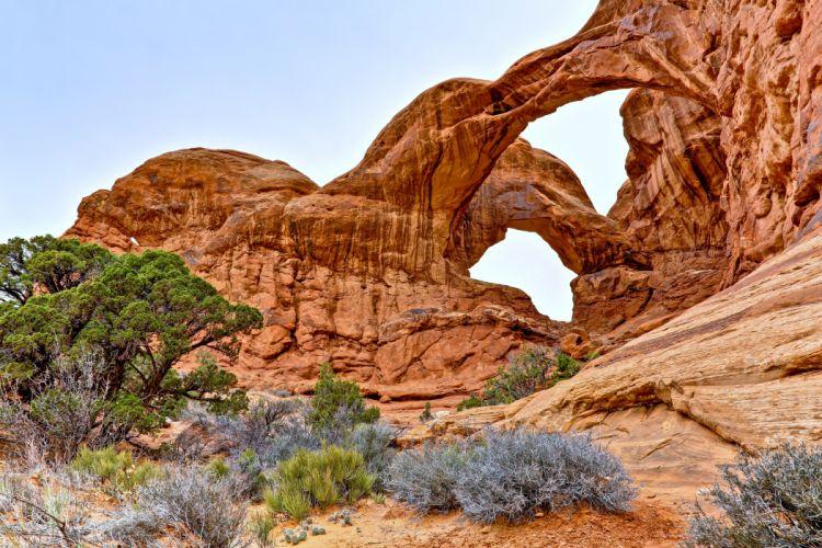 Arches National Park uta usa rock arch sky trees stones rocks desert landscapes nature wallpaper