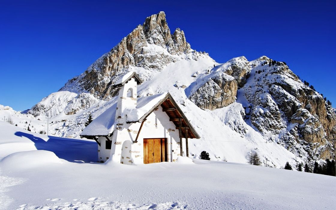 snow mountains house sky blue sunny landscapes nature winter high wallpaper