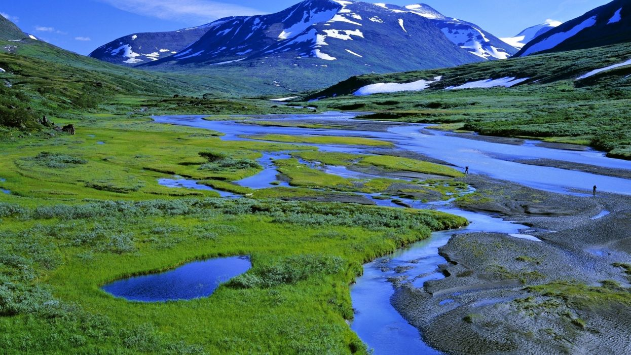mountains landscapes lakes green grass Exploration snow sky hills water nature wallpaper