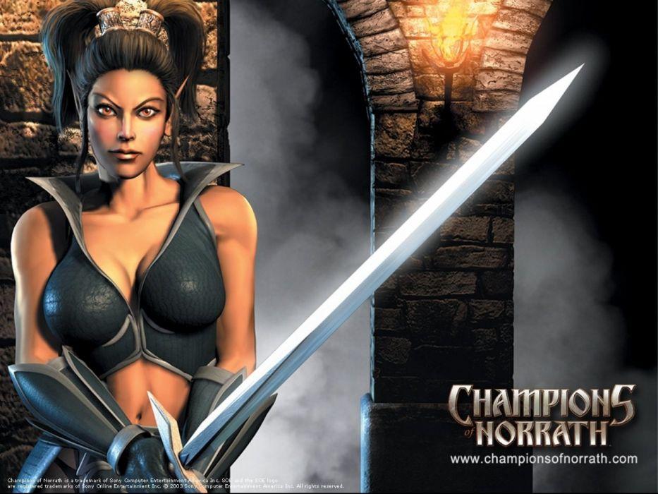CHAMPIONS OF NORRATH Realms EverQuest online action fighting rpg fantasy adventure 1xnre elf elves warrior poster girl wallpaper