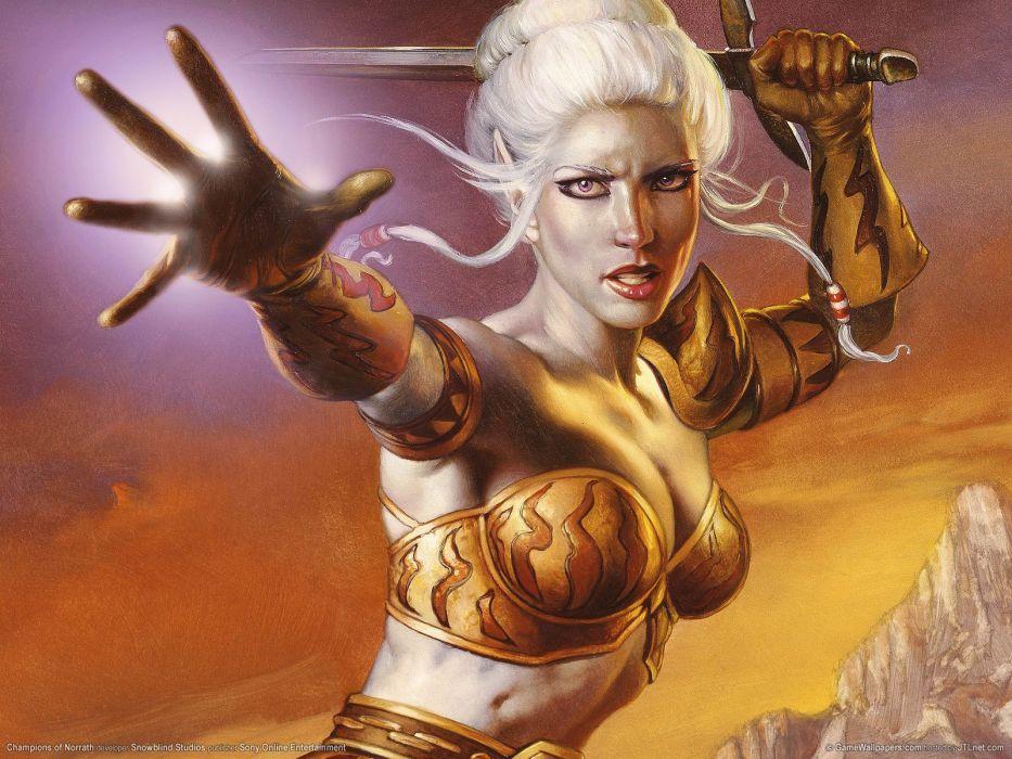 CHAMPIONS OF NORRATH Realms EverQuest online action fighting rpg fantasy adventure 1xnre elf elves warrior wallpaper