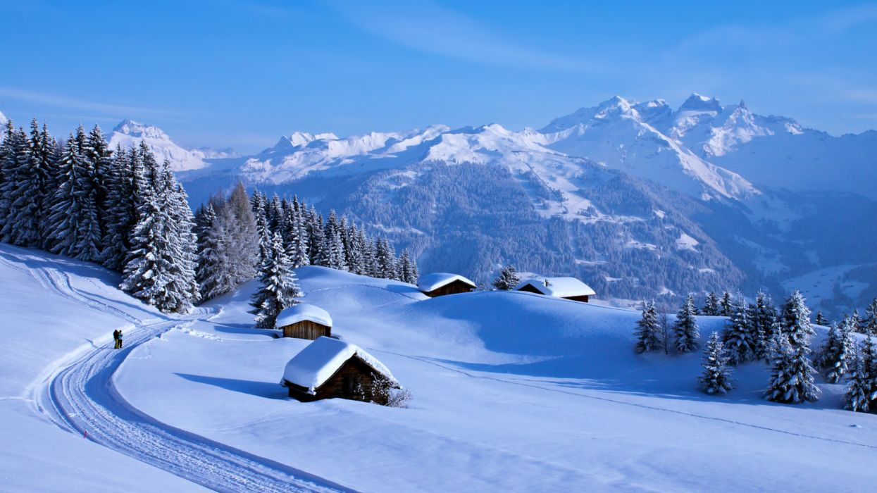 landscapes nature snow trees white winter houses countryside people road mountains forest jungle wallpaper