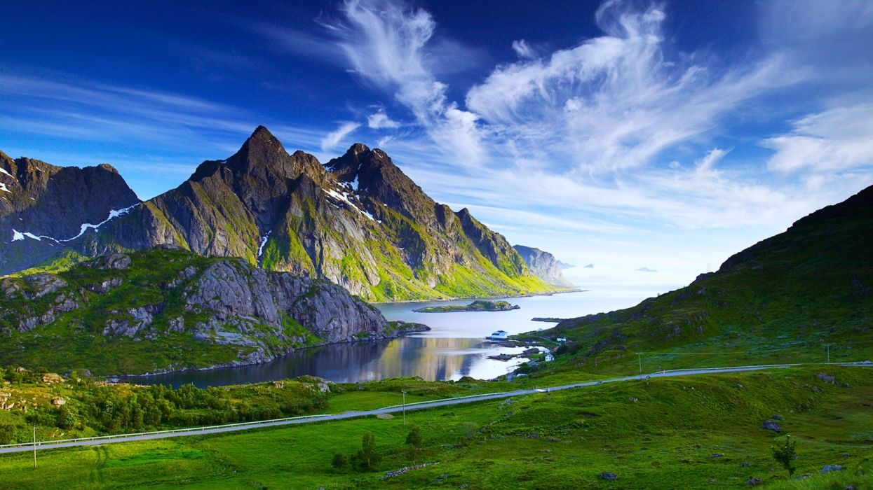 rivers sea mountains spring landscapes nature sky clouds blue snow beauty green grass wallpaper