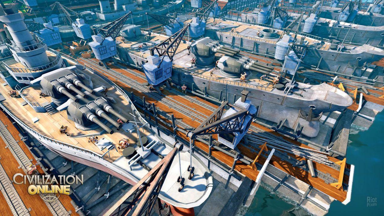 CIVILIZATION ONLINE empire building mmo rpg fantasy strategy adventure 1civilo history detail sci-fi artwork ship cannon military warship wallpaper