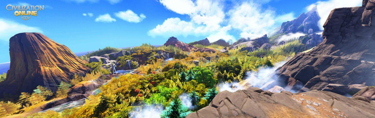 CIVILIZATION ONLINE empire building mmo rpg fantasy strategy adventure 1civilo history detail sci-fi artwork architecture landscape forest mountains wallpaper