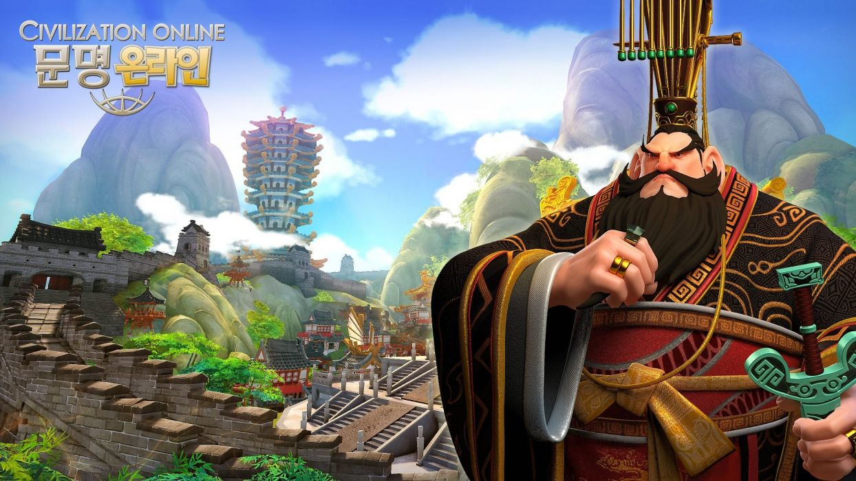 CIVILIZATION ONLINE empire building mmo rpg fantasy strategy adventure 1civilo history detail sci-fi artwork asian warrior samurai wallpaper