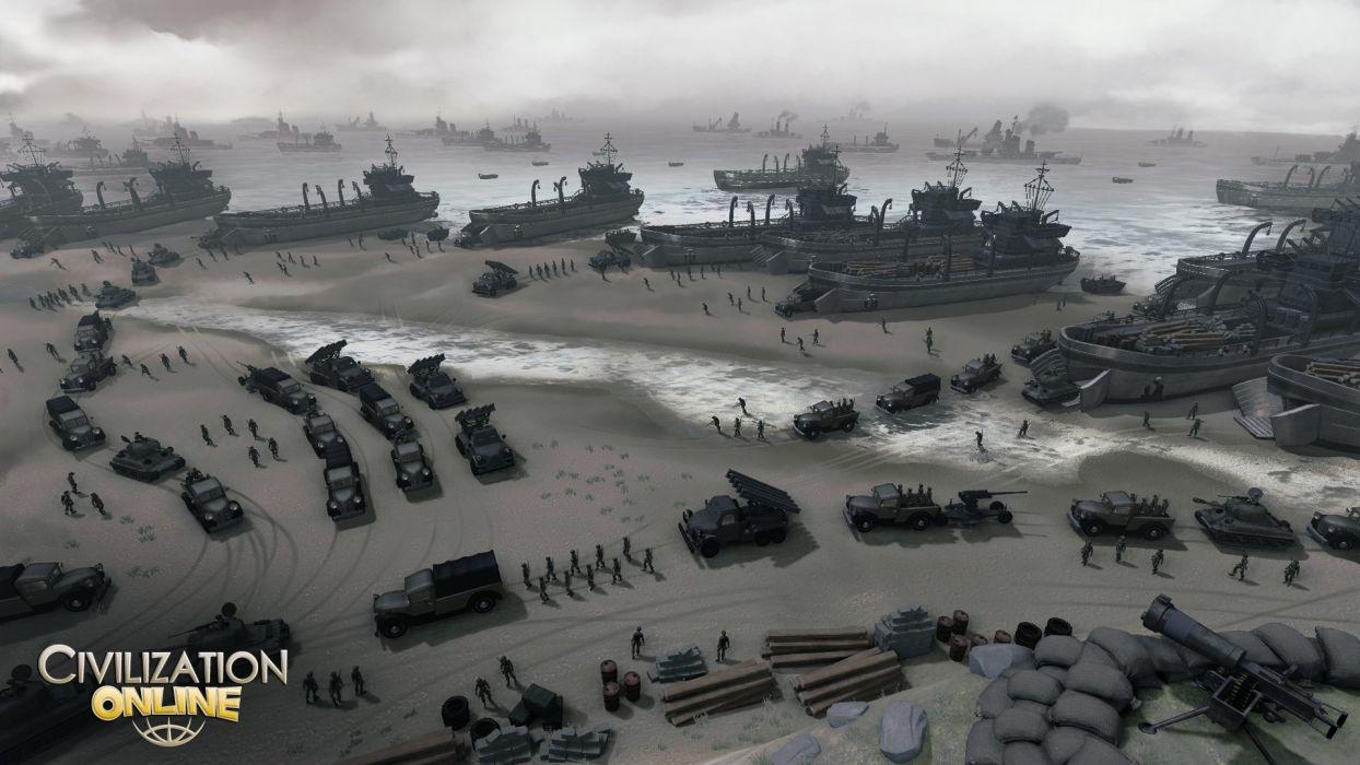 CIVILIZATION ONLINE empire building mmo rpg fantasy strategy adventure 1civilo history detail sci-fi artwork warship ship boat beach military tank wallpaper