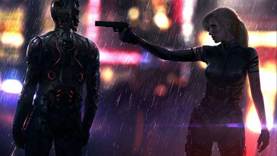 LAST MAN STANDING comics online killbook bounty hunter 1lmsk action fighting sci-fi superhero hero heroes warrior adventure girl weapon gun rain detail wallpaper