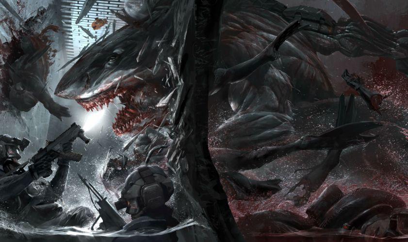 LAST MAN STANDING comics online killbook bounty hunter 1lmsk action fighting sci-fi superhero hero heroes warrior adventure horror shark dark blood detail wallpaper