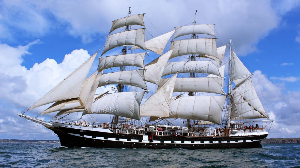 sea ship boat sky clouds landscapes nature Sailing travel discovery Tourism wallpaper