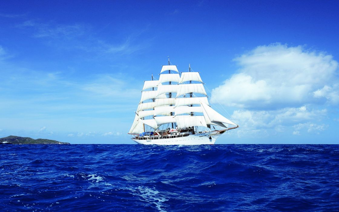 boat clouds discovery landscapes nature sailing Sea ship sky tourism travel wallpaper