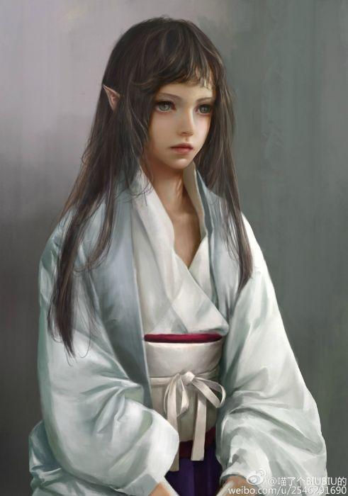 elf art girl kimono original long hair fantasy green eyes wallpaper