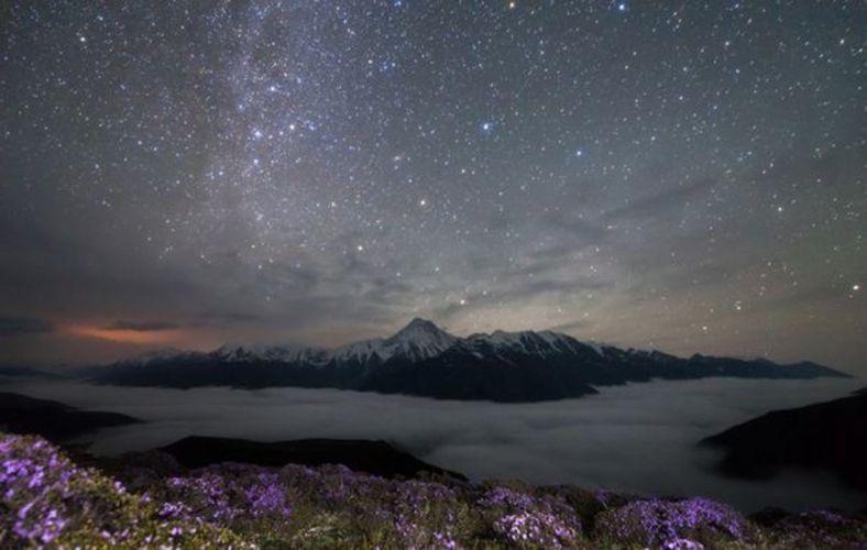 stars sky amazing mountain landscape flower snow wallpaper