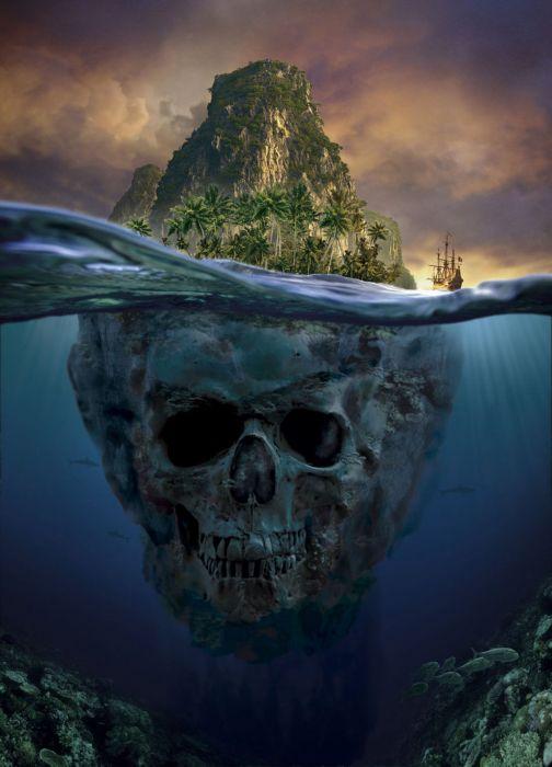 fantasy ocean dry head ship wallpaper