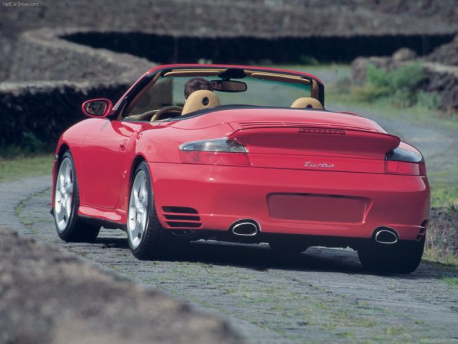 Porsche 911 Turbo Cabriolet convertible cars 2004 red wallpaper