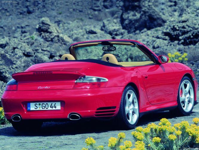 Porsche 911 Turbo Cabriolet convertible cars 2004 red wallpaper