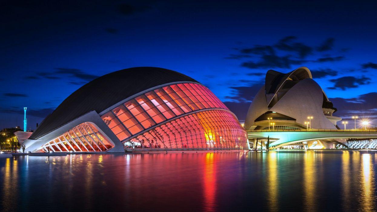 Spain sea buildings sky evening blue colorful cities lights wallpaper