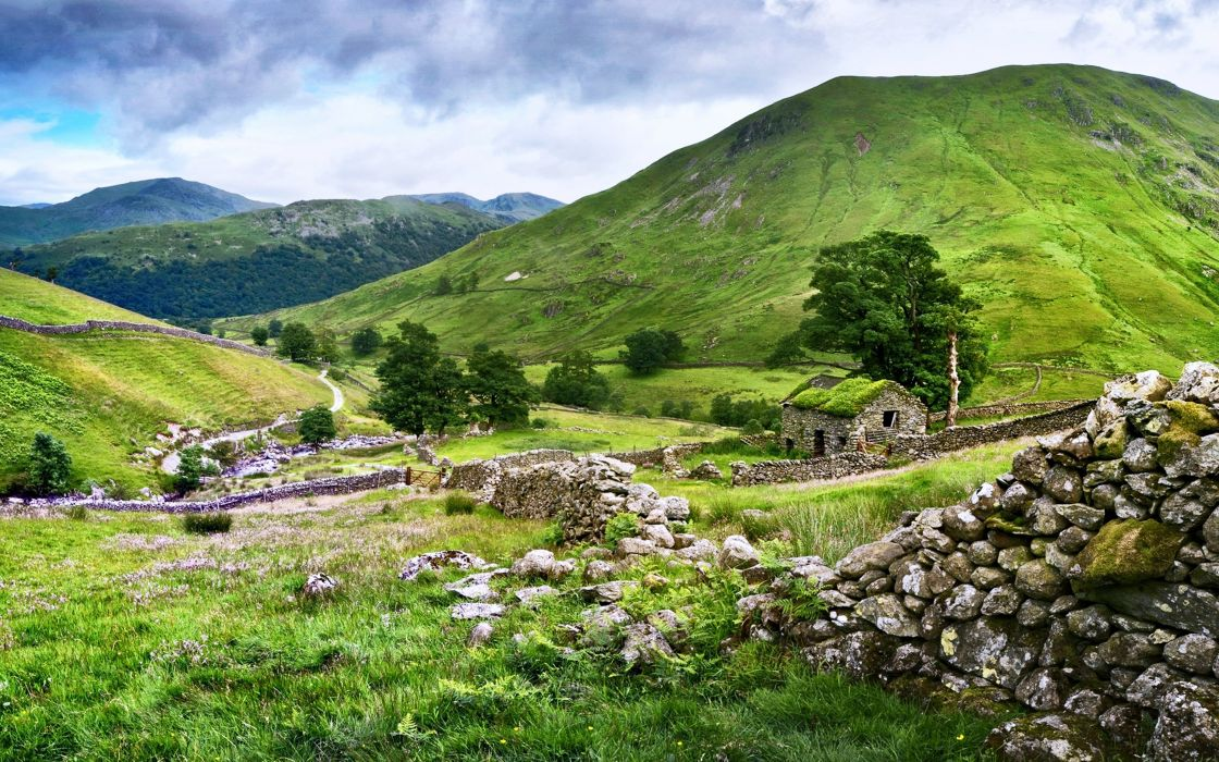 nature landscapes trees hills mountains stones houses grass green clouds wallpaper