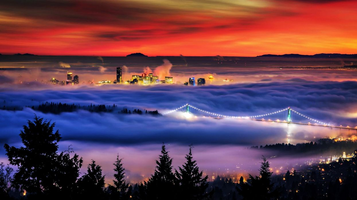 Vancouver bridge fog sunset red landscapes nature buildings Skyscrapers trees lights city evening clouds sky wallpaper