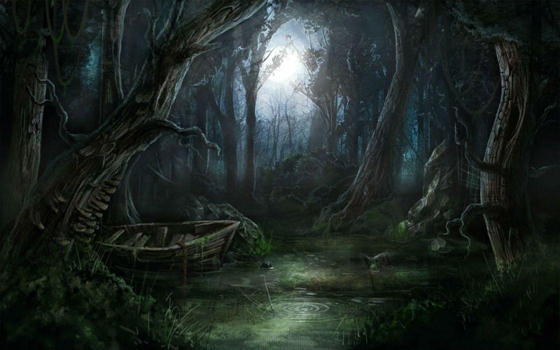 BITEFIGHT fantasy dark horror vampire werewolf monster online mmo evil action fighting 1bfight strategy halloween spooky forest moon wallpaper