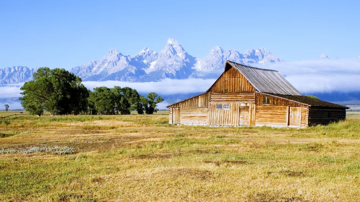 Moulton Barn Grand Teton National Park countryside farms house mountains fog trees landscape nature fields wallpaper