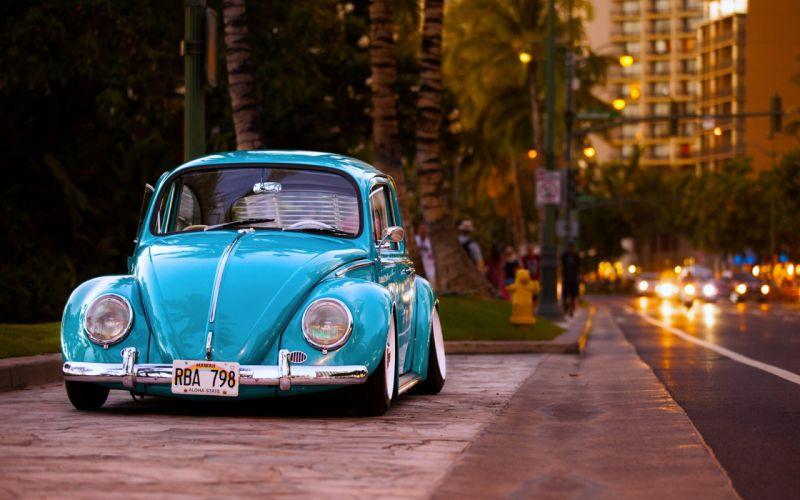 Volkswagen Beetle cars old classic hawaii city road motors buildings wallpaper