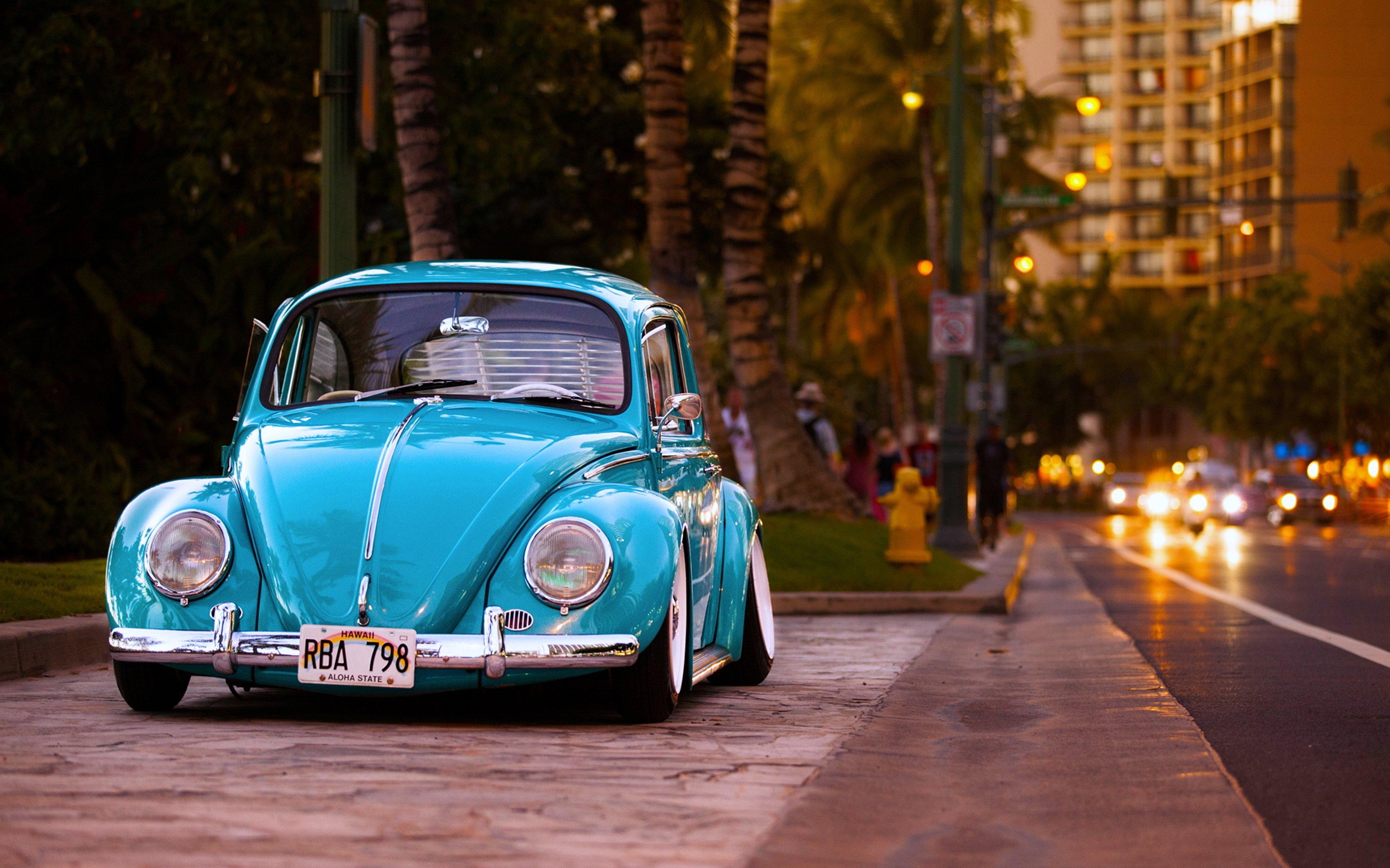 volkswagen beetle cars old classic hawaii city road motors buildings wallpaper 3840x2400. Black Bedroom Furniture Sets. Home Design Ideas