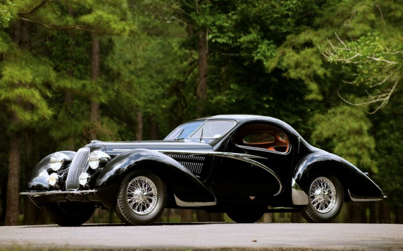 Vintage black cars old classic motors trees jungle forest landscape wallpaper