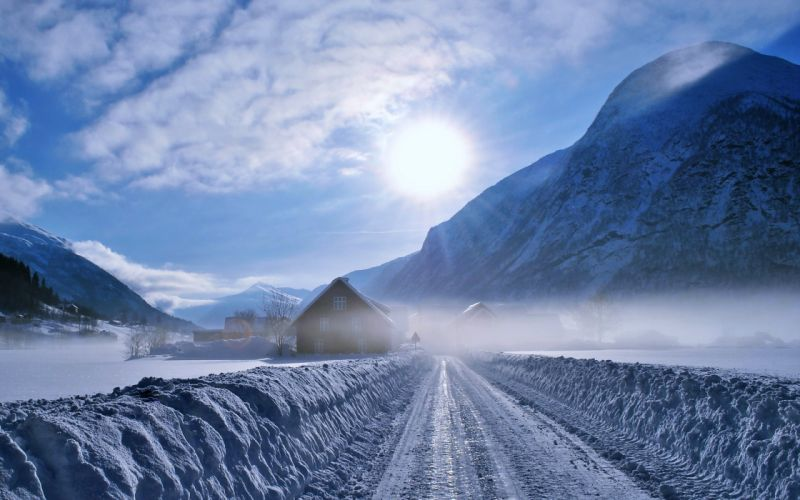 snow road countryside mountains sky sun clouds forest landscapes nature wallpaper