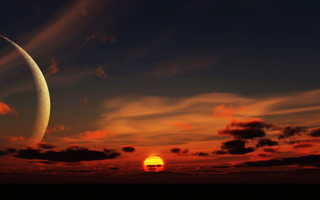fantasy space moon sunset sky clouds landscape nature wallpaper