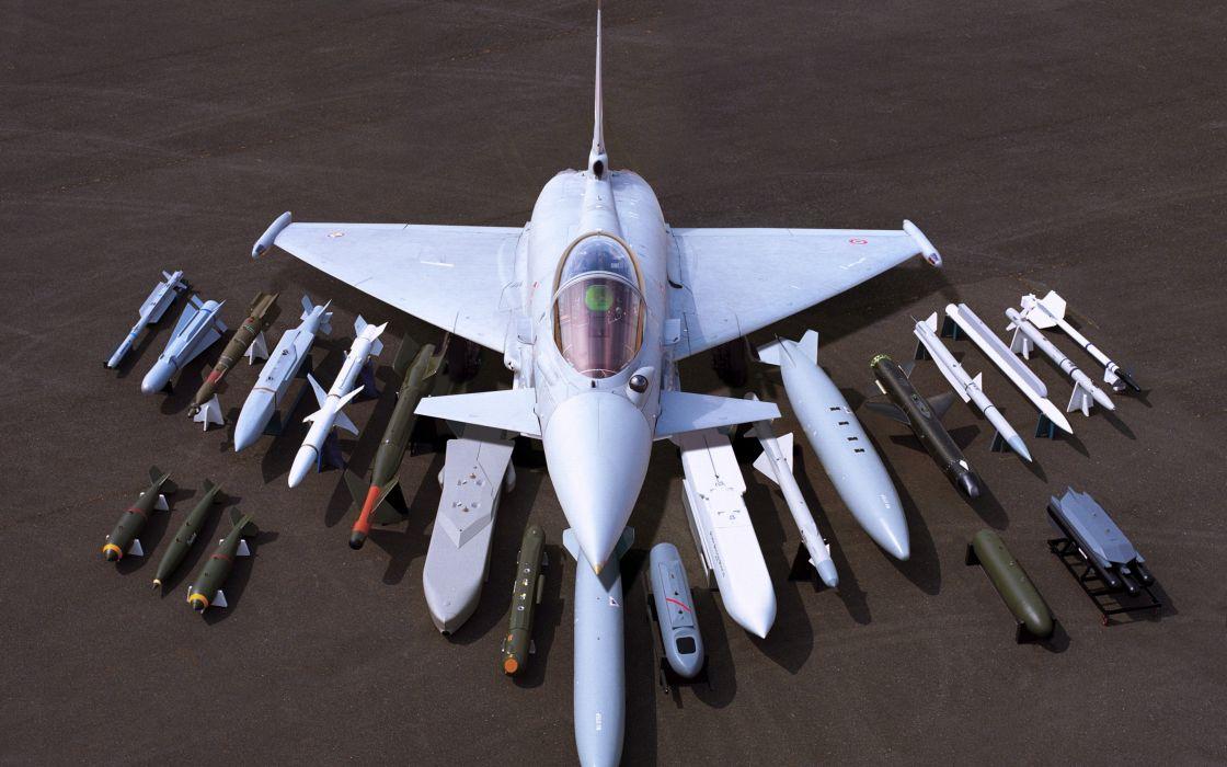 Eurofighter Typhoon Missiles bombs shells Military aircraft fighter Flight wallpaper
