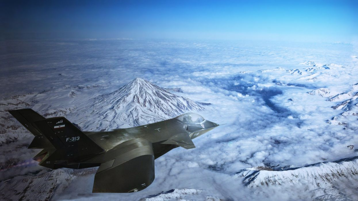 aircraft bombs Fighter Flight Military missiles shells Qaher f313 iran landscapes snow mountains sky clouds wallpaper
