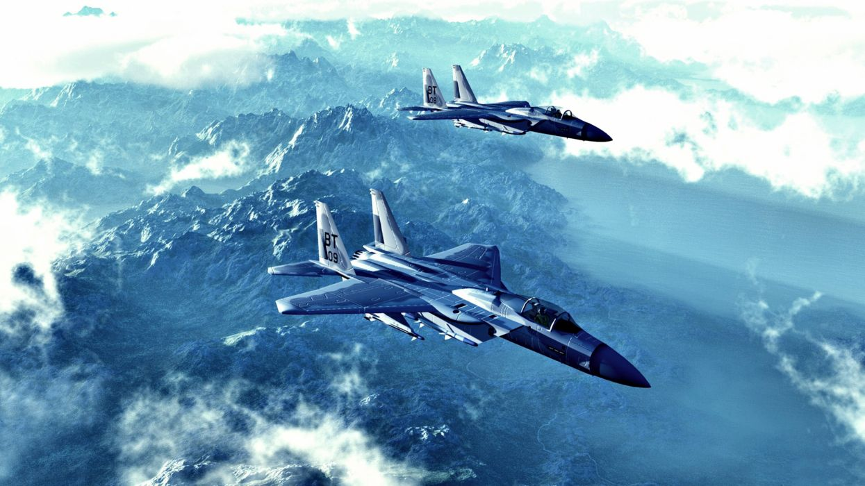 McDonnell Douglas F-15 Eagle aircraft bombs Fighter Flight Military missiles shells mountains clouds landscapes wallpaper