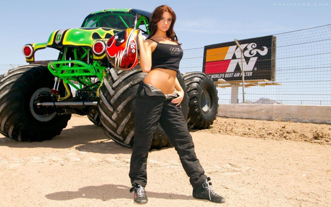 MONSTER-TRUCK race racing monster truck hot rod rods sexy babe wallpaper