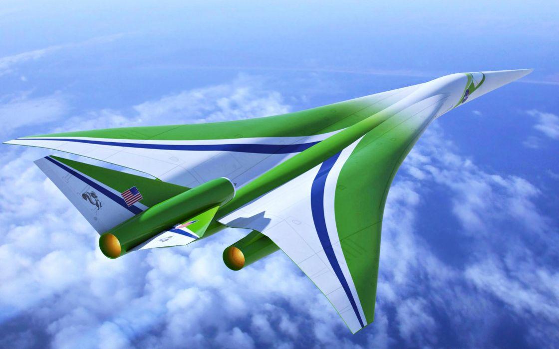 Lockheed Martin future concept Air travelers aircraft plane sky clouds blue wallpaper